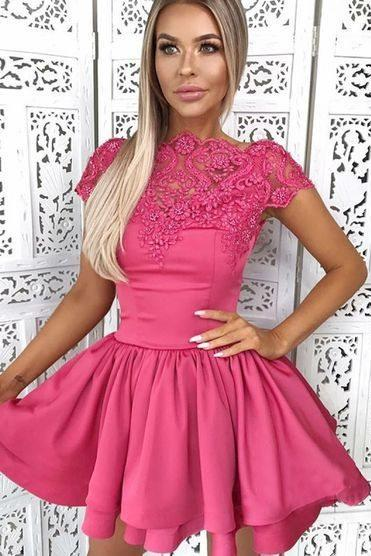 Sexy Above Knee Length Homecoming Dress,Cap Sleeves Fuchsia Party Dress