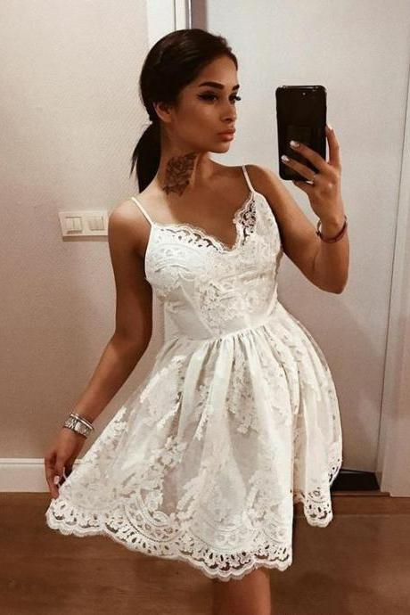 Spaghetti Straps White Lace Homecoming Dress