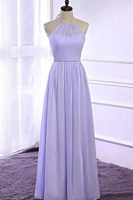 A line Halter Neckline Lilac Bridesmaid Dress