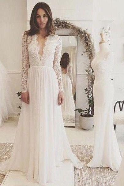Long Sleeves Lace Wedding Dress,Simple V-back Summer Bridal Dress