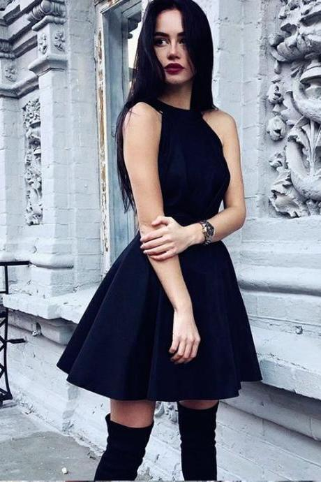 Knee Length Halter Neckline Little Black Dress