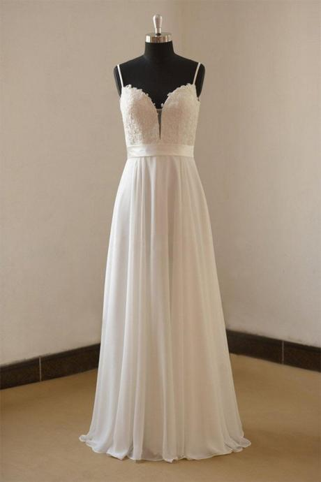 Plunging Spaghetti Strap Lace Appliqués A-line Wedding Dress, Bridal Gown