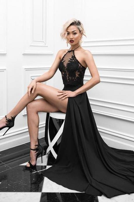 Sexy Black Prom Dresses 2018,Two Piece Prom Gown,Halter Neckline Black Evening Dress,Sexy Open Back Black Lace Two Piece Graduation Dress