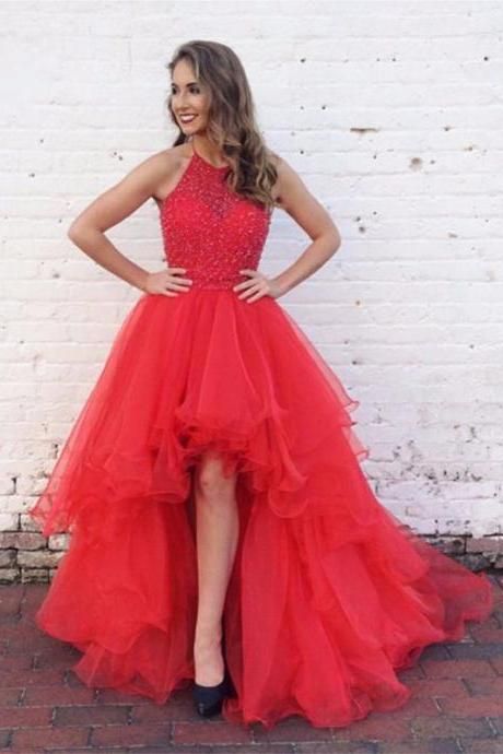 Sexy High-low Red Prom Dress,Red Graduation Dress,Handmade Beaded Evening Dress,Hi-low Red Prom Gown