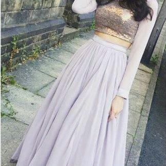 Two Piece Prom Dress,Long Sleeves Party Dress,Lilac Formal Dress