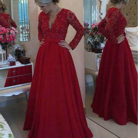 Long Sleeves Lace Evening Dress,Deep Red Prom Dress,A line V-neckline Wine Red Formal Party Dress